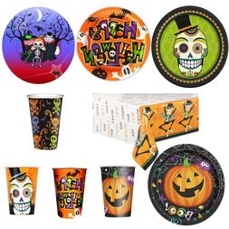 Halloween Decoration Tablecloth Table Runner Plate Cup Cutle