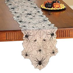 Collections Etc Halloween Embroidered Spider Web Table Linen