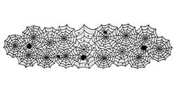 "DII 18x72"" Polyester Lace Table Runner, Black Spider Web - P"