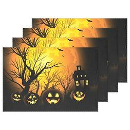 4 PCS Halloween Pumpkin Washable Placemats Table Mats by AID