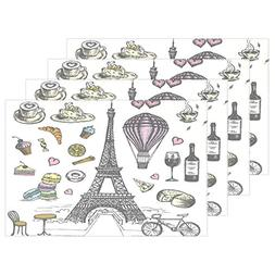 ALAZA Hand Drawn French Paris Eiffel Tower Balloon Placemats