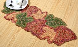 Hand Made Beaded Table Runner 13x36 Inch in Red Beige green