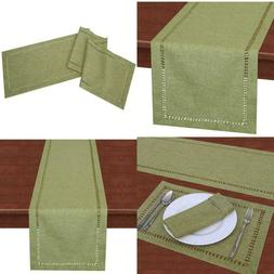 Grelucgo Handcrafted Solid Color Dining Table Runner, Dresse