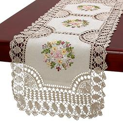 Handmade Crochet Cotton Lace Table Runner And Dresser Scarf,