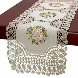 Handmade Crochet Cotton Lace Table Runner Dresser Scarf Ribb