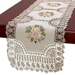 Grelucgo Handmade Crochet Cotton Lace Table Runner and Dress