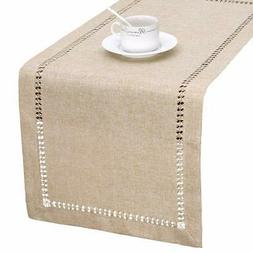 Handmade Hemstitch Beige Table Runner Or Dresser Scarf, Rect