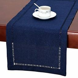 GRELUCGO Handmade Hemstitch Navy Blue Rectangular Table Runn