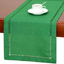 GRELUCGO Handmade Hemstitch Spring Green Table Runner Or Dre