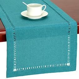 GRELUCGO Handmade Hemstitch Teal Table Runner Dresser Scarf,