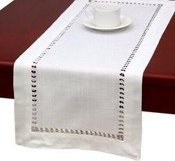 Handmade Hemstitched Natural Rectangle White Lace Table Runn