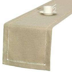 Handmade Hemstitched Polyester Rectangle Table Runners,Beige