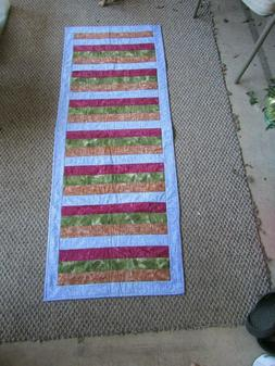 Handmade Quilted Reversible Table Runner Fall Green Red Prin