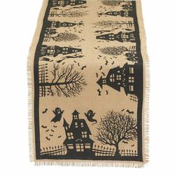 Haunted House Table Runner New Printed Halloween Ghosts Bats