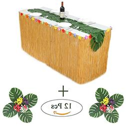 HB HBB MAGIC 9 ft Yellow Luau Table Skirt With Hibiscus Flow