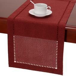 Hemstitched Cranberry Dining Table Runners Dresser Scarf, So