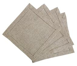 Hemstitched Napkins,Square 12*12 Inch Set Of 4, Natural Colo