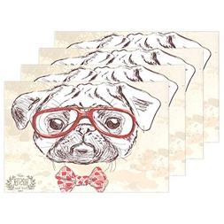 ALAZA Hipster Pug Dog with Glasses and Sui Placemats for Din
