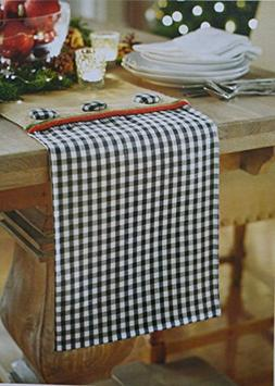 Holiday Collection Black and White 6' Checkered and Burlap T