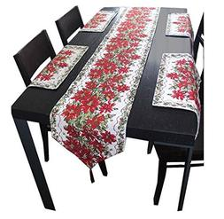 Yoovi Holiday X'Mas Table Runners with 4pcs Dinner Mats Size