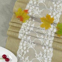 Hot Hessian Burlap Table Runner Weding Flower Rustic Lace Na