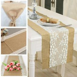 Hot Hessian Burlap Table Runner Weding Flower Lace Natural R