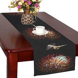 your-fantasia Hummingbird and Flowers Cotton Linen Table Run