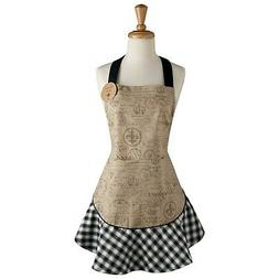 DII Design Imports Fleur De Lis Apron with ruffle hem and fr
