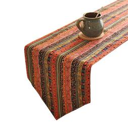 Aothpher 12 inch by 55 inch Boho Table Runner Cotton Linen P