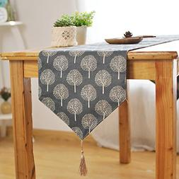 Aothpher 12 inch by 86 inch Rustic Tree Table Runner Cotton