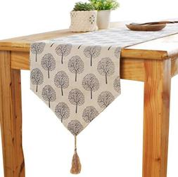 Aothpher 12 inch by 72 inch Rustic Tree Table Runner Cotton
