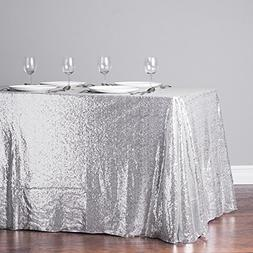 TRLYC 60 Inch by 120 Inch Silver Sequin Rectangular Tableclo