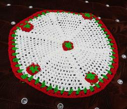 Indian Crochet Pattern Round Table Runner Handmade White Hom