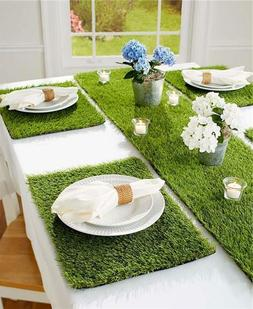 INDOOR OUTDOOR GRASS LOOK TABLE RUNNER OR SET OF 4 PLACEMATS