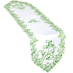 Simhomsen Irish Clover Table Runners, Embroidered Shamrock T