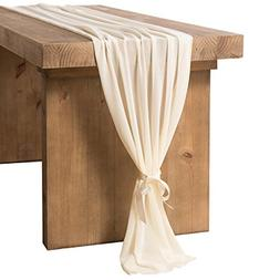 ling's moment Ivory Chiffon Table Runner 27.5 x 120 Inches f