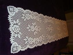 Ivory Lace Hearts and Flowers design Table Runner 72 x 14
