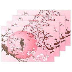 ALAZA Japanese Cherry Blossom Sakura Tree Bird Placemats Din