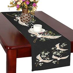 InterestPrint Japanese White Crane Birds Polyester Table Run