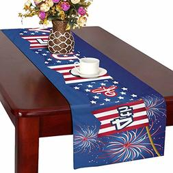 InterestPrint 4th of July Polyester Table Runner Placemat 14
