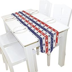 4Th Of July Stars and Stripes Grunge USA Flag Table Runner P