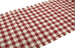 Kel-Toy Jute Burlap Checkered Runner, 15 by 72-Inch, Red and