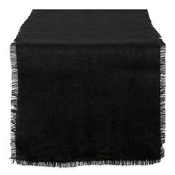DII CAMZ37824 TABLERUNNER Jute Black 15X74
