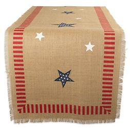 "DII 14x74"" Jute/Burlap Table Runner, 4th of July - Perfect f"