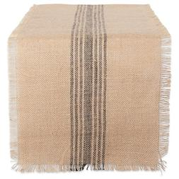 DII CAMZ38415 Mineral Middle Stripe Burlap Table Runner, 14x