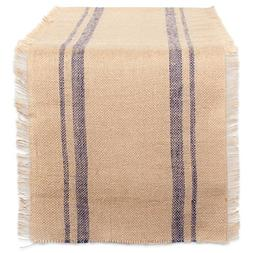 DII 14x72 Jute/Burlap Table Runner, Border French Blue - Per