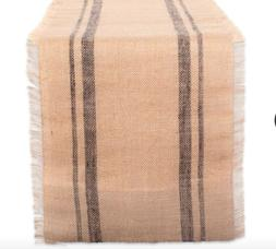 DII 14x108 Jute/Burlap Table Runner, Border Mineral Gray - P