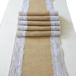 Amajoy 1pc 12x60 Inch  Jute Burlap and White Lace Table Runn