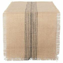 DII CAMZ38416 Mineral Middle Stripe Burlap Table Runner, 14x