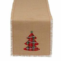 DII 100% Jute, Holiday Embroidered Tree, 14 x 72 Fringe Burl